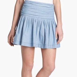PAIGE ~ Danni blue denim pleated mini skirt